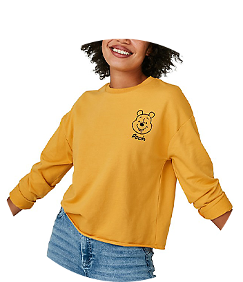 mustard yellow winnie the pooh womens top