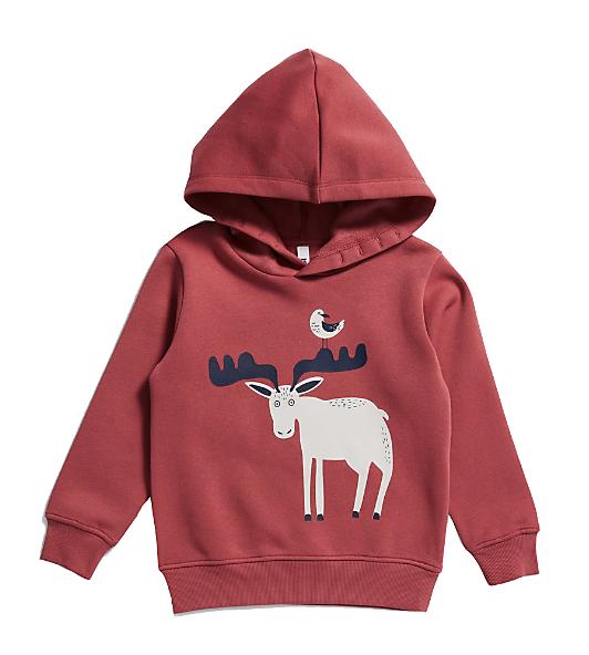 red maroon moose kids hoodie