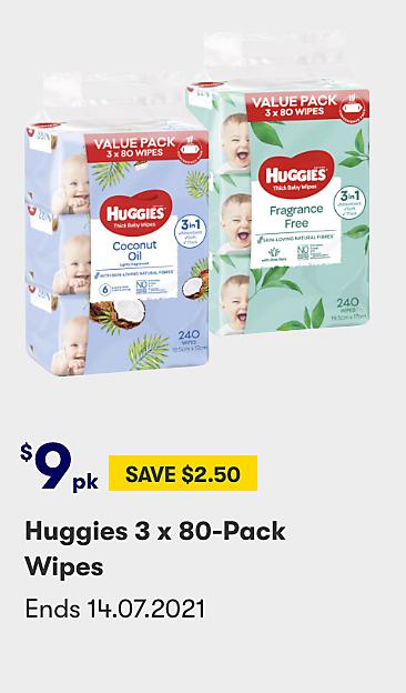 $9 Huggies 3 x 80 Pack Wipes Value Pack