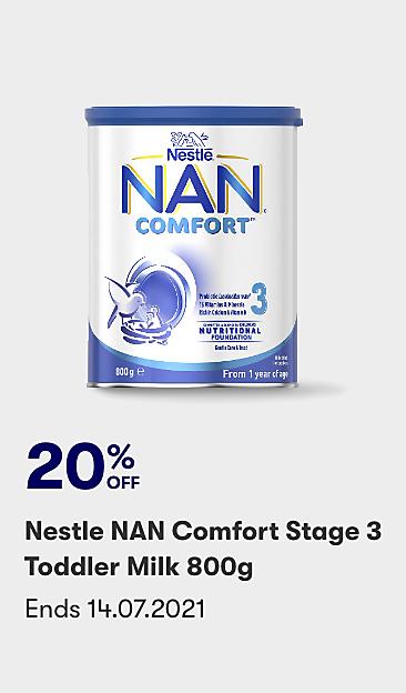 20% off Nestle NAN Comfort Stage 3 Toddler Milk 800g