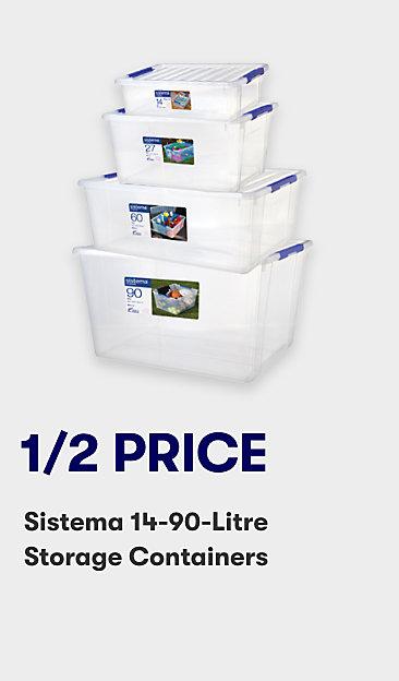 1/2 price Sistema 14-90 litre storage containers