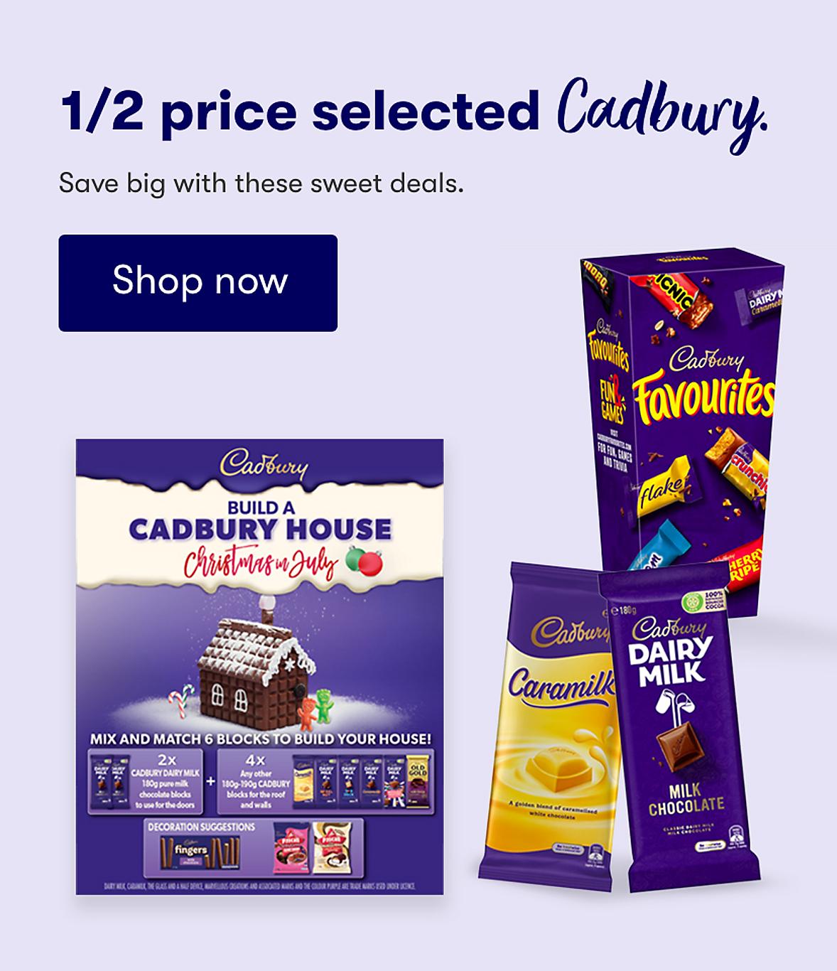 1/2 price selected Cadbury