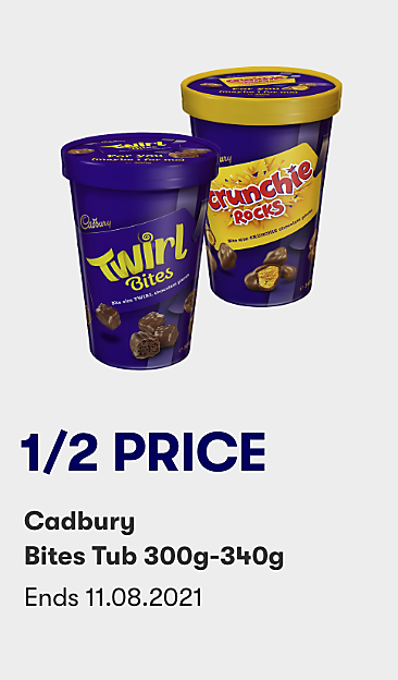 1/2 price Cadbury Bites Tub 300g-340g