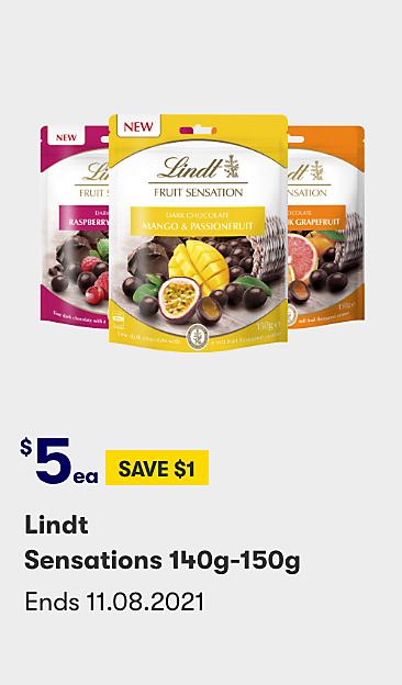 $5 save $1 Lindt Sensations 140g-150g