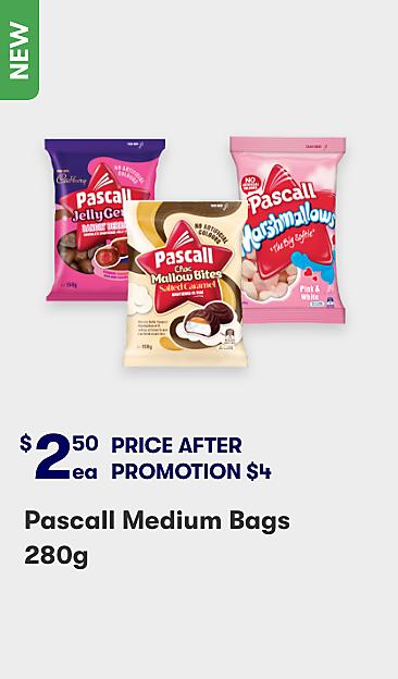 $2.50 Pascall medium bags 280g