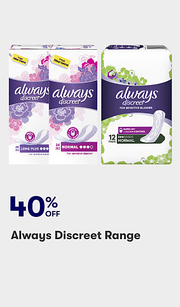 40% off Always Discreet range