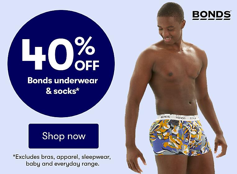40% off bonds underwear & socks