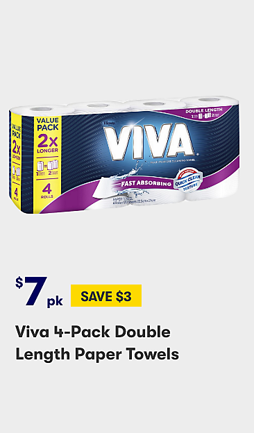 $7 Viva 4 Pack Double Length Paper Towels