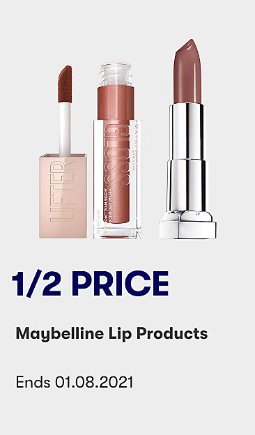 1/2 price Maybelline lip products