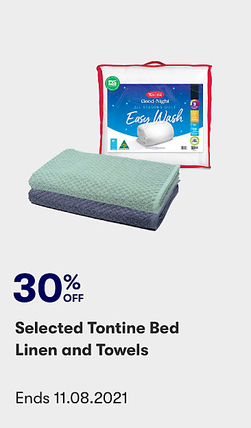 30% off selected Tontine bed linen and towels