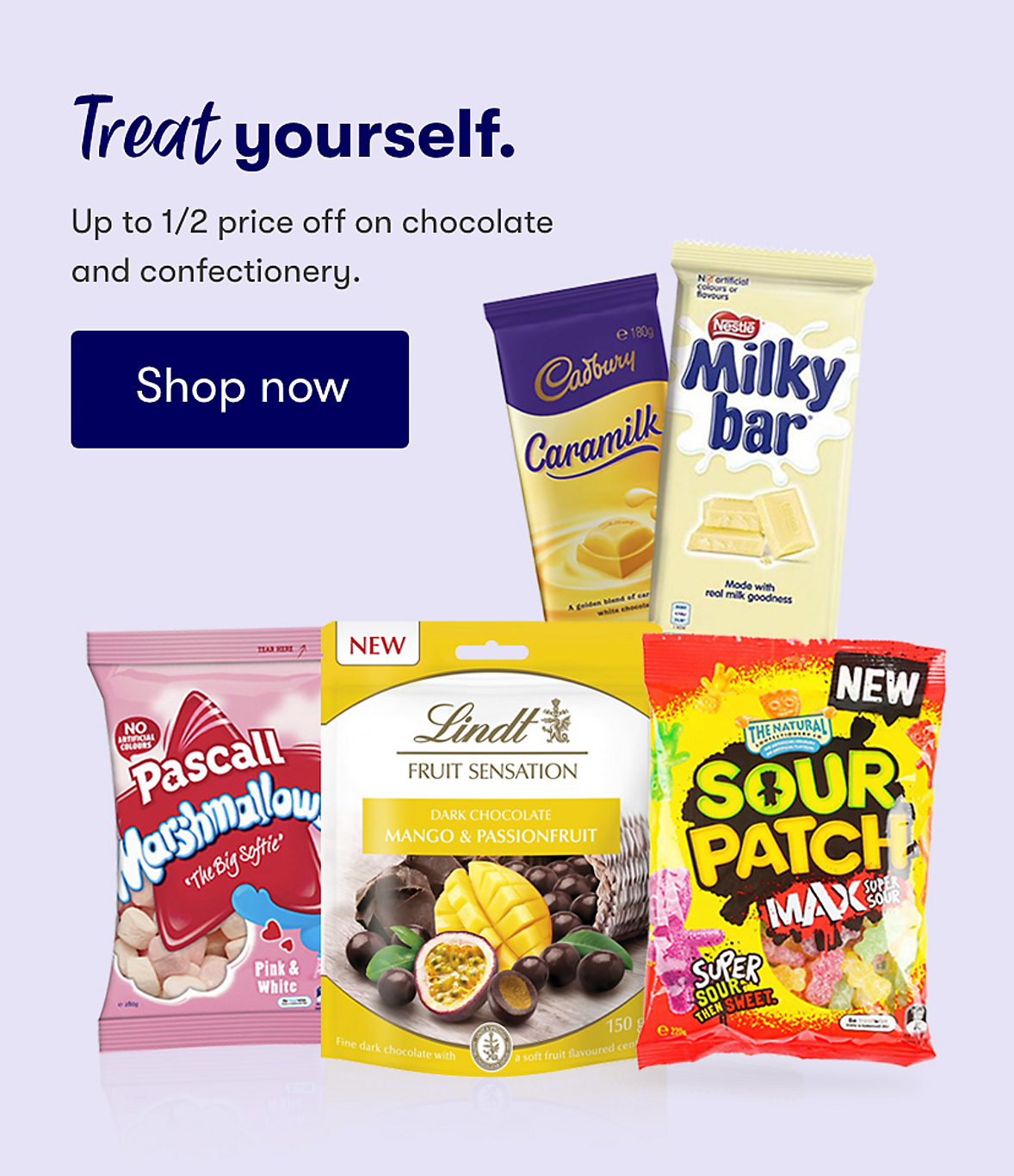 Treat yourself up to 1/2 price off on chocolate and confectionery