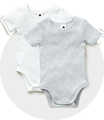 Dymples Baby Newborn White & Grey Bodysuit