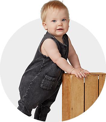 Dymples Baby Wearing Black Denim Onesie
