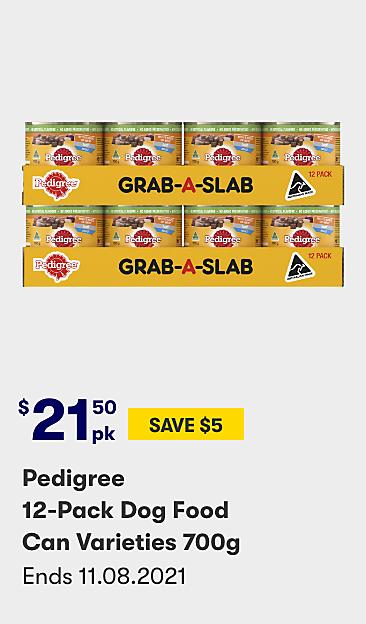 $21.50 save $5 Pedigree 12 pack dog food can varieties 700g