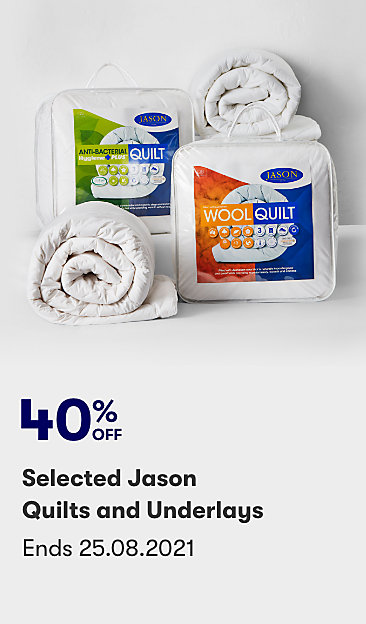 40% selected Jason quilts and underlays