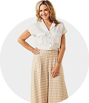 womens white shirt and check pants