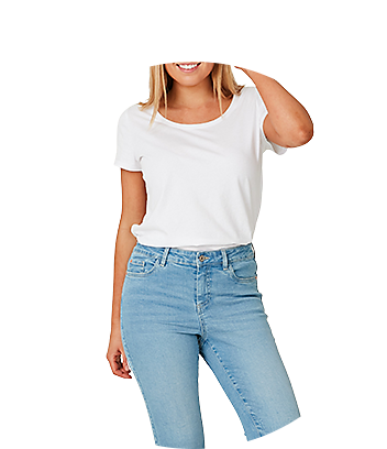 1964 denim jeans and white top