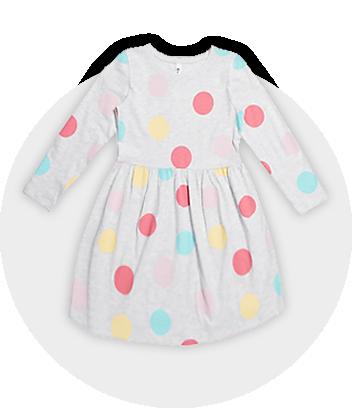 Spot Long Sleeve Dress