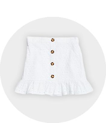 White Button Skirt