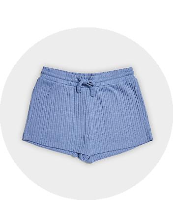 Blue Ribbed Shorts