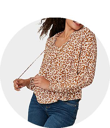 Women's Animal Print Long Sleeve Top