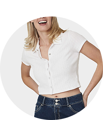 Women's White Button Up Top