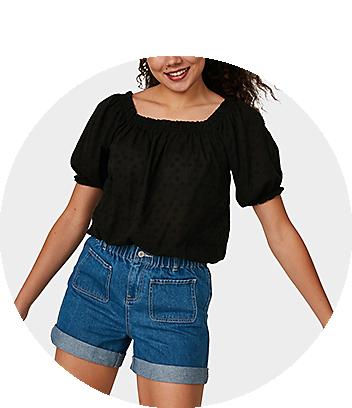 Women's Black Puff Sleeve Top