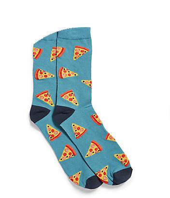 Men's Blue Pizza Print Socks