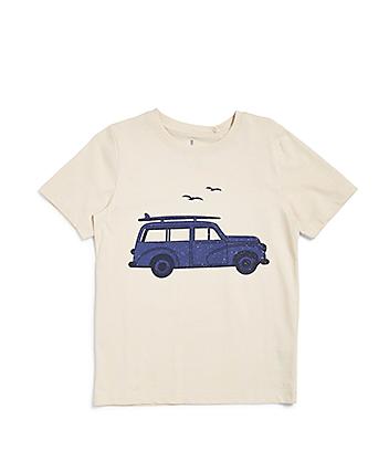 Boys Cream Car Print Tee