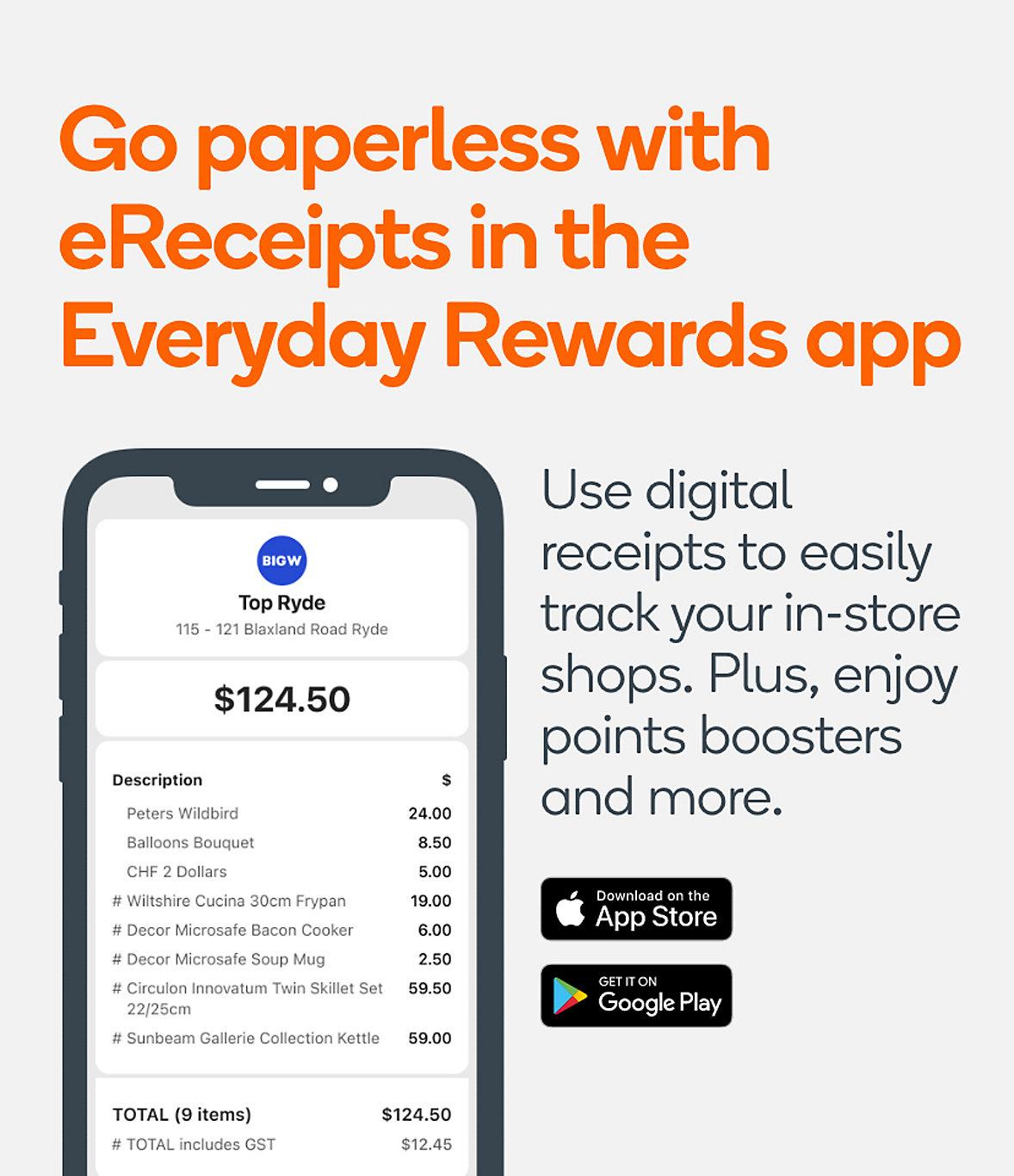 eReceipt in the Everyday Rewards App