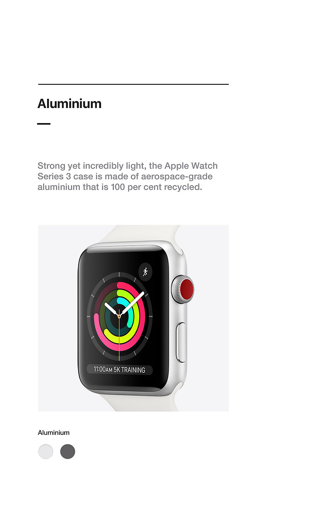 Apple Watch Materials and Finishes Series 3