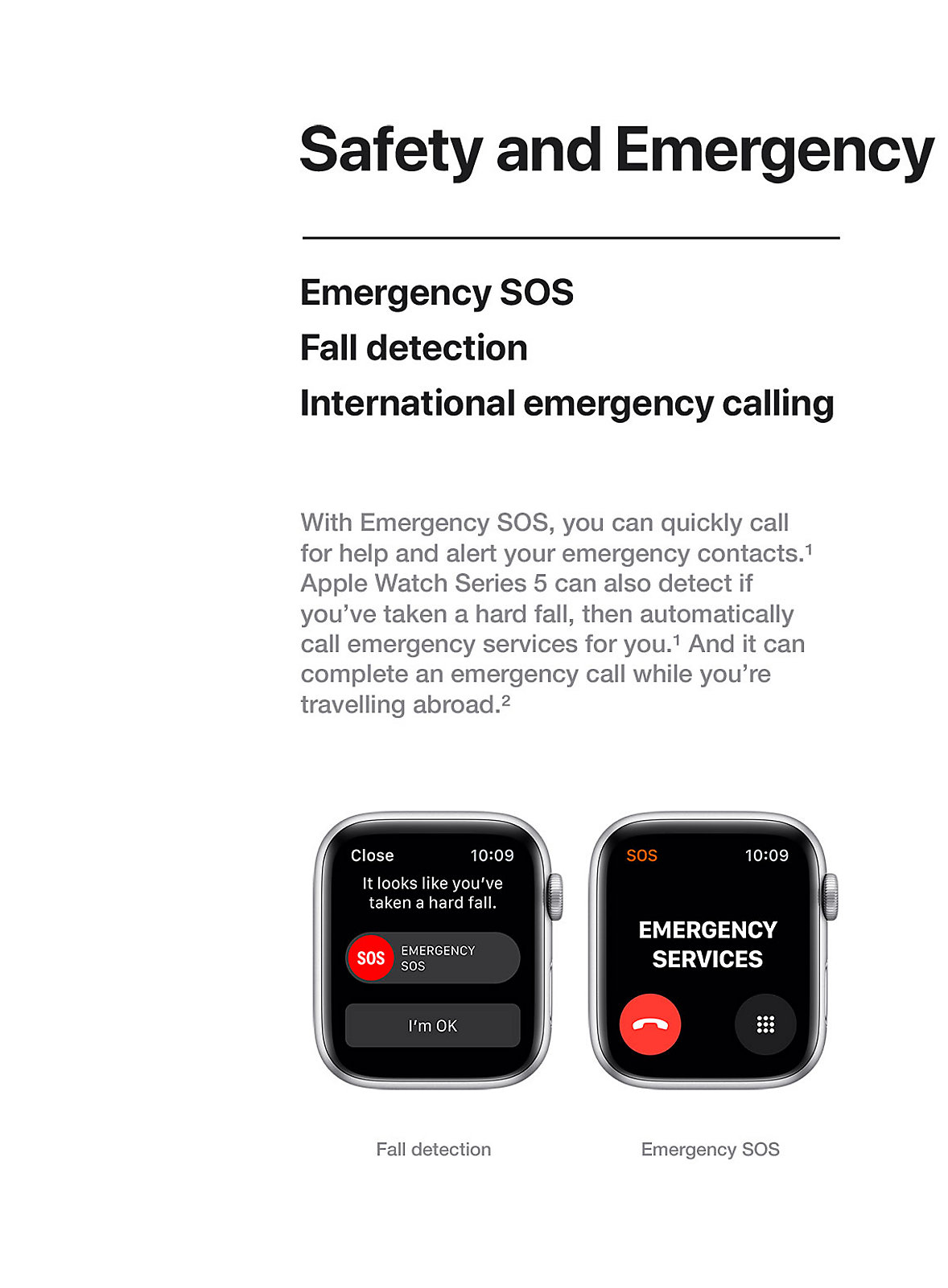 Apple Watch Safety and Emergency Series 5