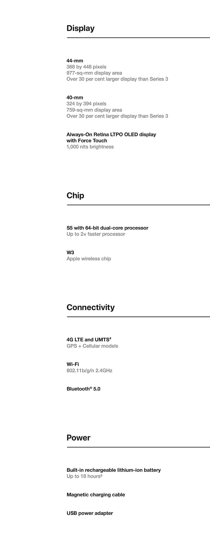 Apple Watch Comparison Tech Specs 3