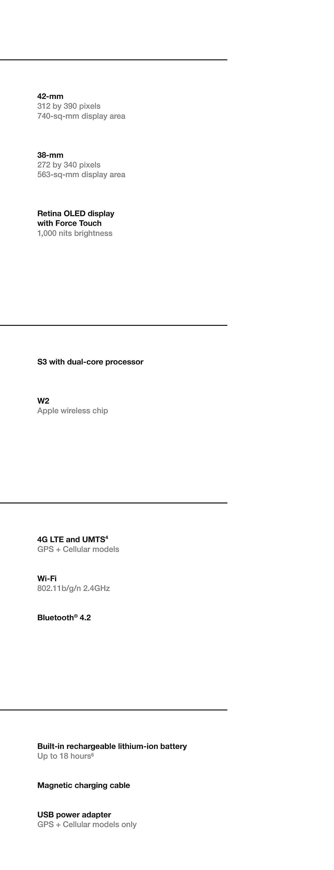 Apple Watch Comparison Tech Specs 4