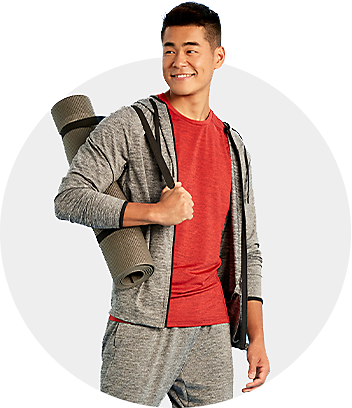 Mens grey and red activewear