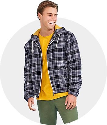 Mens check blue jacket yellow shirt green pants