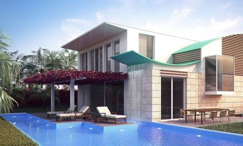3ds max render of a modern house and pool
