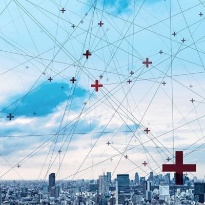 Digital image of buildings with red crosses hanging above the sky.