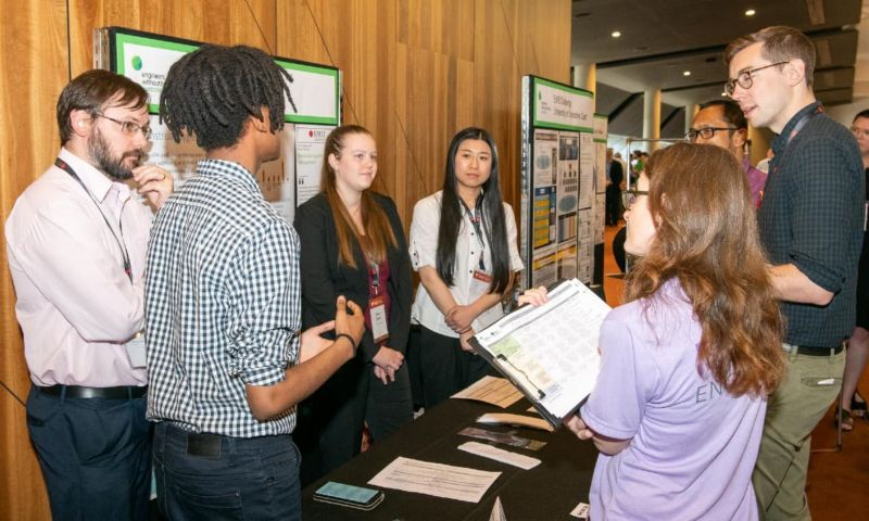 Students and judges at the Engineers Without Borders Challenge