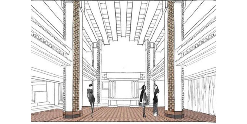 A black and white illustration of The Capitol's salon level