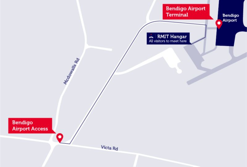 Map of Bendigo Airport including the Bendigo Airport Access road off Victa Road next to Mcdowalls Road, to the Bendigo Airport Terminal and the RMIT Hanger, where all visitors meet.