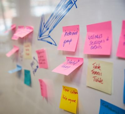 Skill up image. Post it notes.