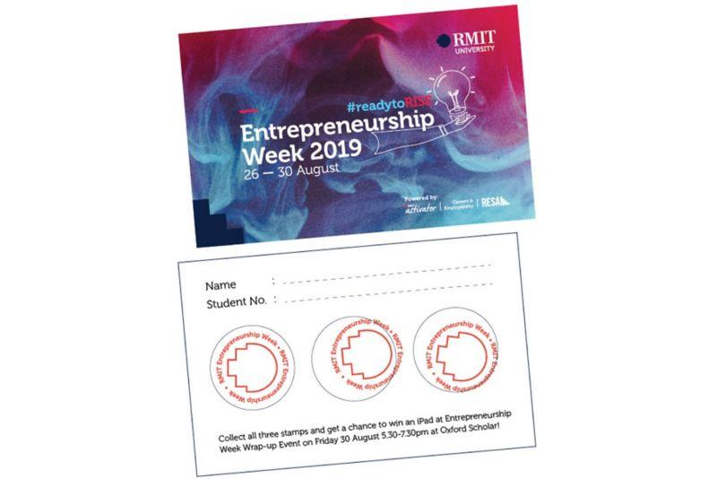 Entrepreneurship week card with three stamps.