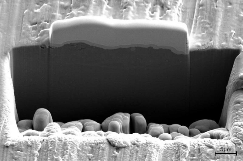Figure 3: Cross sectional view of milled cross section of aluminium 6022 sample by focus ion beam scanning electron microscope (FIB-SEM)