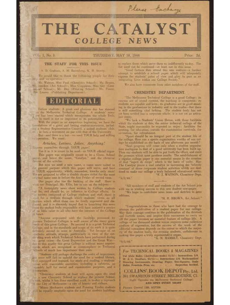 Catalyst College News. 18 May 1944, Volume 1, Issue 1.