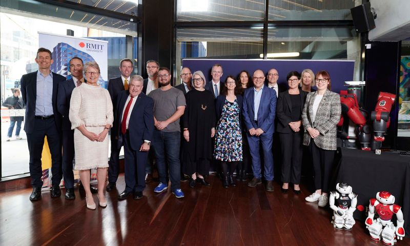 Partners at the ARC Centre of Excellence for Automated Decision-Making and Society launch at RMIT University with Vice-Chancellor and President Martin Bean CBE, centre lead Professor Julian Thomas and Federal Minister for Education the Hon. Dan Tehan MP.