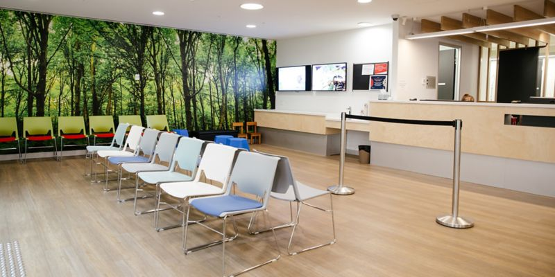 Chairs and reception desk at Health Sciences Clinic.