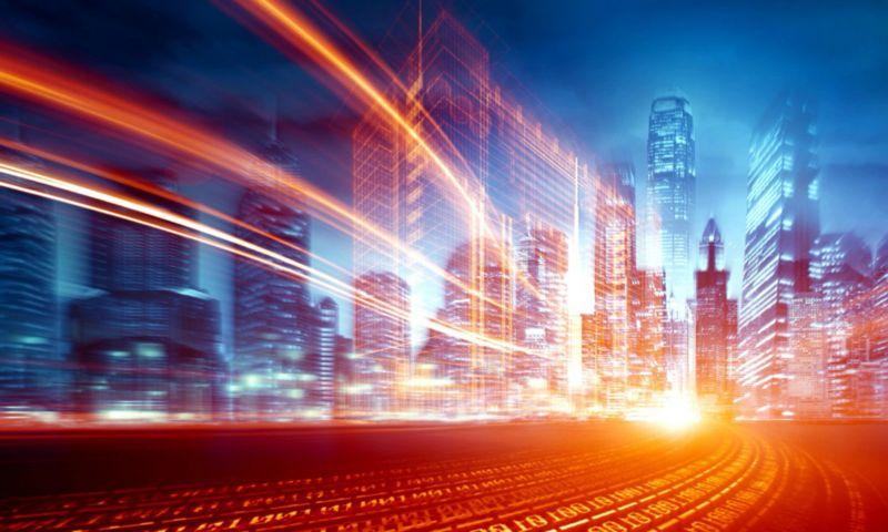 Long exposure photograph of a city skyline