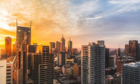 Melbourne skyline at sunset