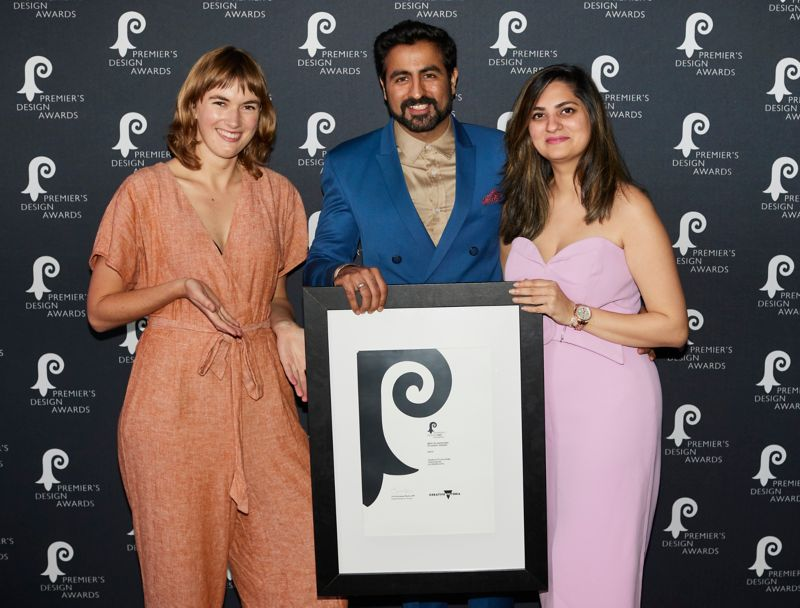 Alt Text is not present for this image, Taking dc:title 'Aegis student design team Charlotte McCombe, Tanuj Kalra and Deepak Apte received a Premier's Design Award for their innovative design. Photo courtesy of Kit Haselden Photography '